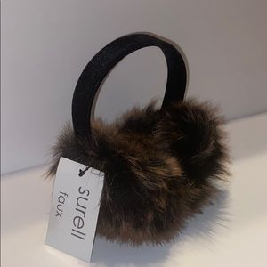 Surell faux fur earmuff with velvet black band